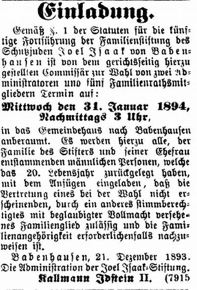 die synagoge in babenhausen (kreis darmstadt-dieburg), Einladung