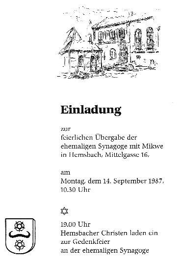 die synagoge in hemsbach (rhein-neckar-kreis), Einladung
