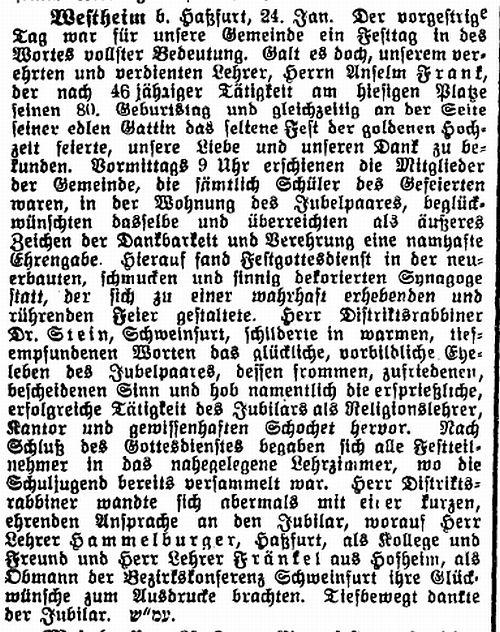 Die synagoge in westheim gemeinde knetzgau kreis ha berge for Frank westheim