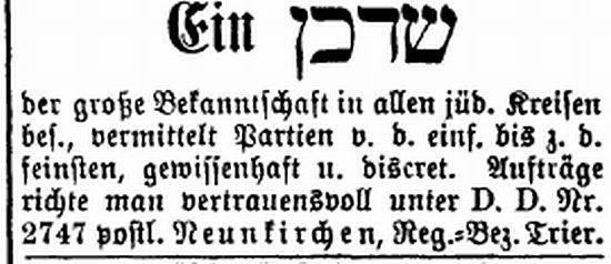 der große Bekanntschaft in allen jüdischen Kreisen besitzt ...