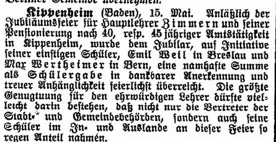 artikel in der zeitschrift der israelit vom 18 mai 1922 kippenheim baden 15 mai 1922 anlsslich der jubilumsfeier fr hauptlehrer zimmern und - Liebenswurdig Schuller Kuche Ausfuhrung
