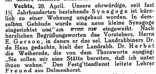 Die synagoge in vechta kreisstadt kreis vechta - Vechta wohnung ...