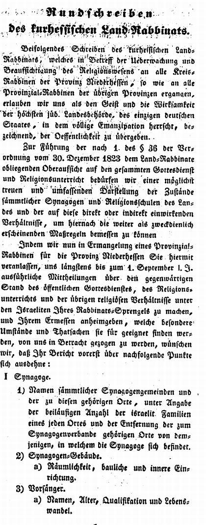 Texte zur Geschichte der Rabbiner und jüdischen Lehrer in Kassel im ...