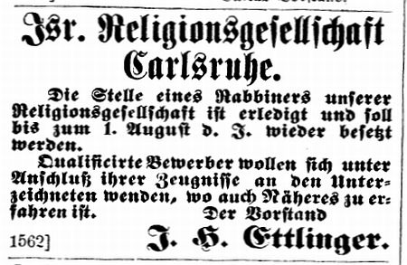 Rabbiner und Lehrer in Karlsruhe im 19./20. Jahrhundert (bis 1940)