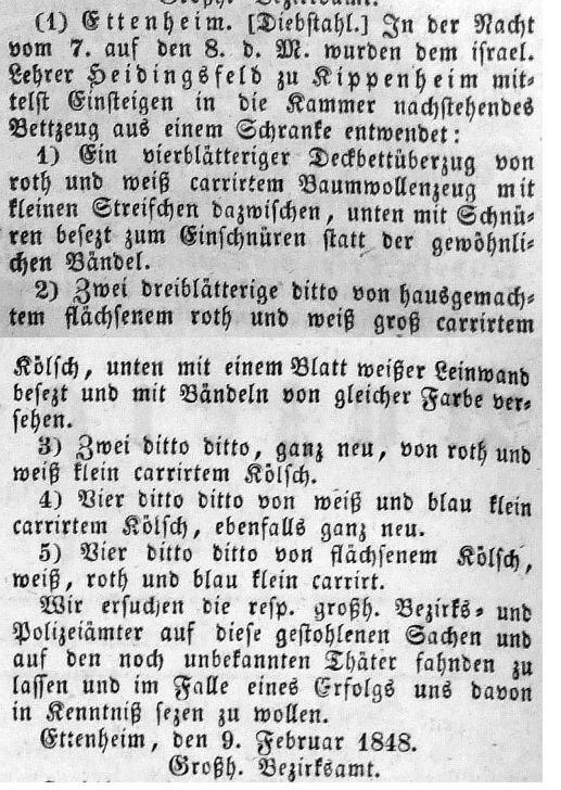anzeige im groherzoglich badischen anzeige blatt fr den see kreis vom 16 februar 1848 quelle stadtarchiv donaueschingen ettenheim diebstahl - Liebenswurdig Schuller Kuche Ausfuhrung